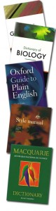 Reference books used for copyediting and proofreading, e.g. Macquarie Dictionary